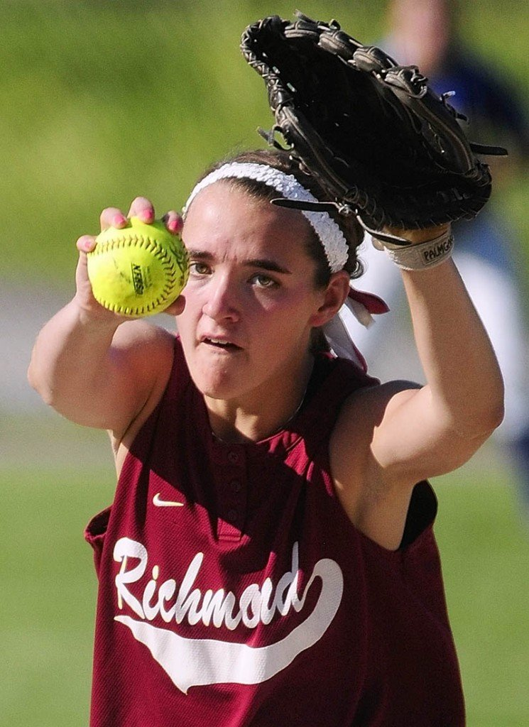 AND THE PITCH: Richmond pitcher Jamie Plummer winds up to throw to the plate during the C-D senior all-star softball game Thursday at Cony Family Field in Augusta.