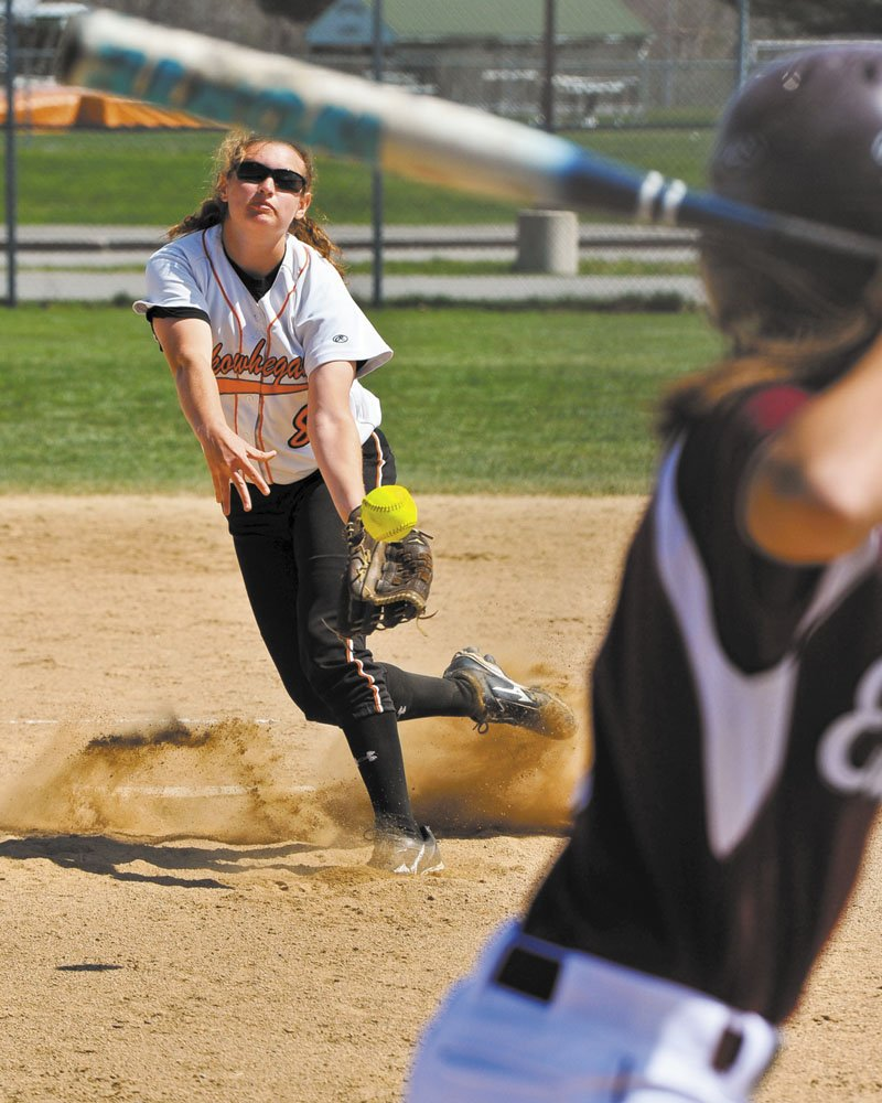 On a roll: Skowhegan Area High School pitcher Kaitlyn Therriault allowed just one hit in the Indians 2-0 win over Bangor in the Eastern A regional final. The Indians face Scarborough in the Class A title game at noon Saturday at Cony High School.