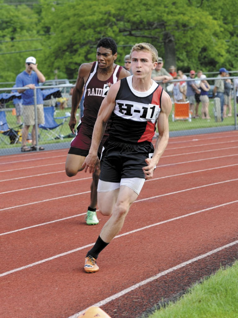 GREAT DAY: Hall-Dale High School's Tyler Fitzgerald won the 100- and 200-meter dashes and also came in second place in the long jump.