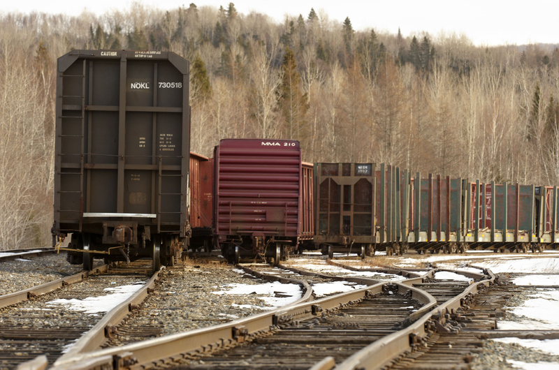 Rail cars sit on the Montreal, Maine & Atlantic Railway junction in Oakfield, Maine.