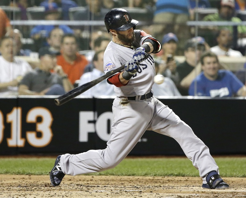 The American League's Dustin Pedroia, of the Boston Red Sox, swings at a pitch during the second inning of the MLB All-Star baseball game on Tuesday, July 16, 2013, in New York. (AP Photo/Matt Slocum)