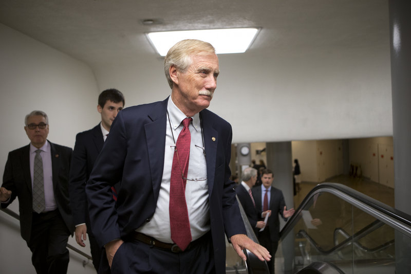 In this July 10 file photo, Sen. Angus King, I-Maine, and other senators rush to the floor for a vote to end debate on the Democrats' plan to restore lower interest rates on student loans. The White House on Tuesday, July 23, 2013 backed a bipartisan plan to fundamentally change how federal student loans are calculated, even as Maine Sen. Angus King and other co-authors of the deal worked to win over skeptical Democrats.