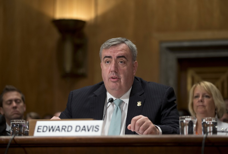 Boston Police Commissioner Edward Davis III testifies on Capitol Hill in Washington, Wednesday, July 10, 2013, before the Senate Homeland Security and Governmental Affairs Committee hearing to review the lessons learned from the Boston Marathon bombings. (AP Photo/J. Scott Applewhite)