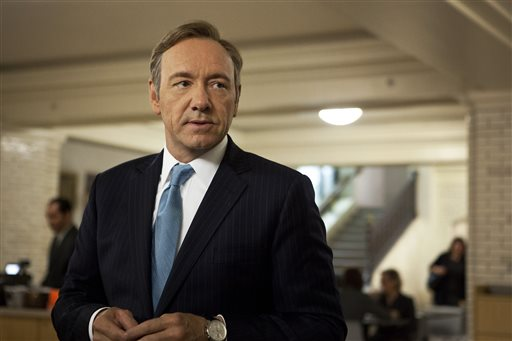 "This image released by Netflix shows Kevin Spacey as U.S. Congressman Frank Underwood in a scene from the Netflix original series, ""House of Cards."" Spacey was nominated for an Emmy Award for best actor in a drama series."
