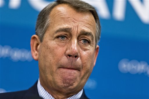 House Speaker John Boehner of Ohio meets with reporters on Capitol Hill Tuesday following a Republican strategy session.