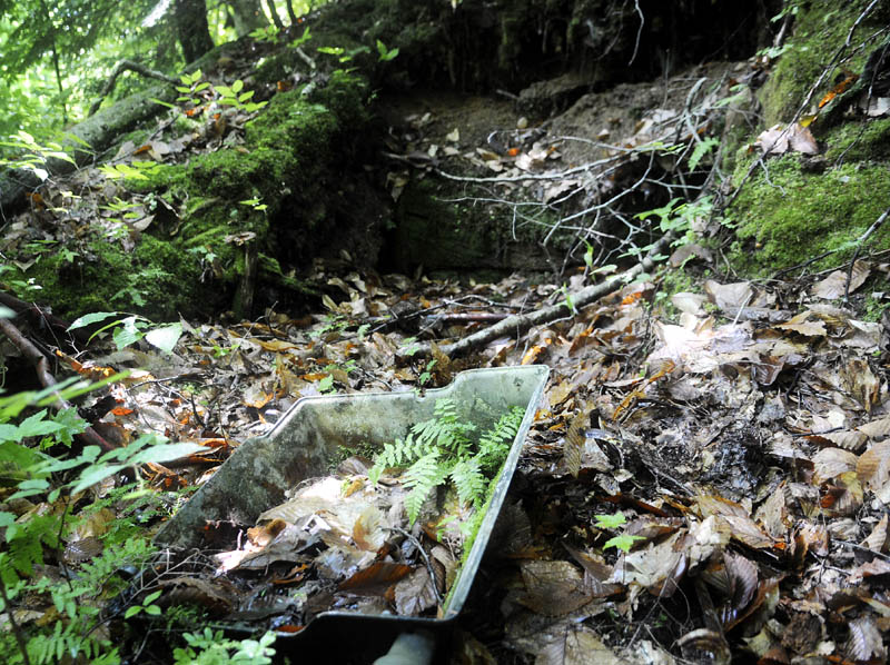 The overturned lid of a gas grill is covered in leaves in the collapse shelter in Rome that Garrett Hollands said was discovered in the late 1980s.