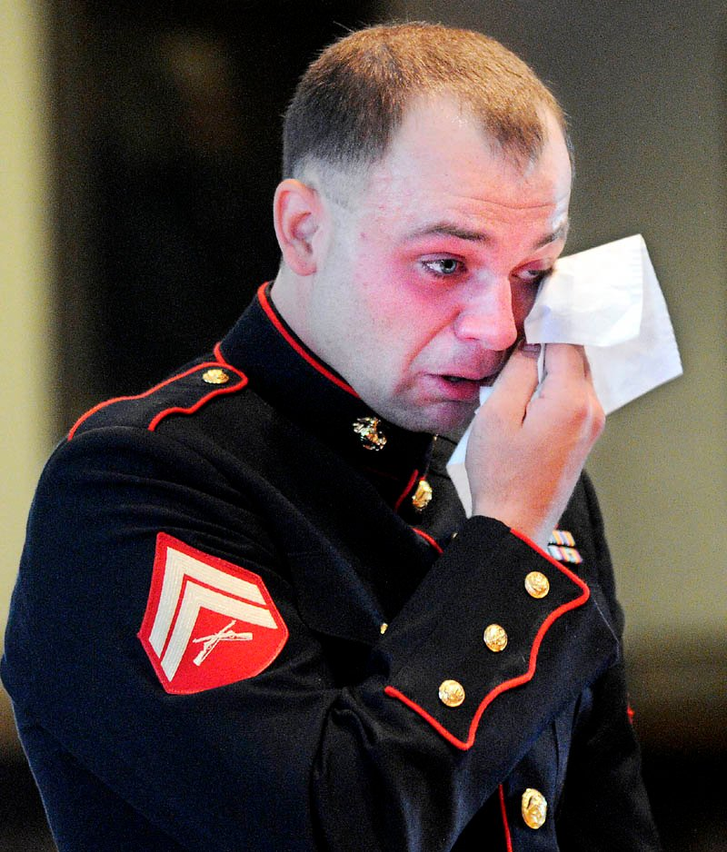 Clad in a Marine Corps dress uniform, Travis Lawler, 23, formerly of Oakland, cries before being sentenced today to nine years in prison, all but four yeas suspended, and four years' probation, at Kennebec County Superior Court, for convictions related to a June 2012 drunk driving accident that killed his sister, Kristin Lawler, 20, of Oakland, and her boyfriend, Jackson Bolduc, 25, of Belgrade.