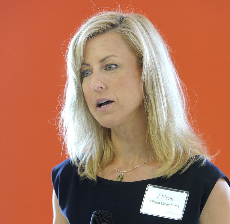 Allison Crean Davis, vice chairwoman of the Baxter Academy board, speaks during the Maine Heritage Policy Center luncheon in Portland on Wednesday, July 31, 2013.