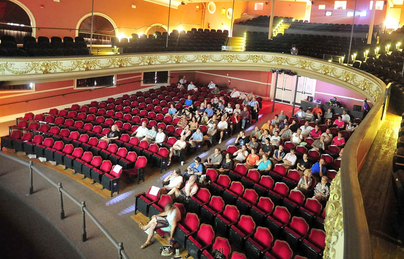 The audience watches a short film during the Maine Student Film Festival at the Waterville Opera House on Saturday.