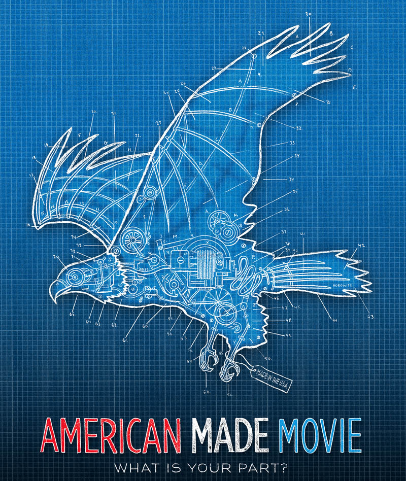 """A promotional poster for """"American Made Movie,"""" a documentary on manufacturing in America that features employees from the Skowhegan New Balance factory. The film is playing in 32 cities in 32 days prior to its national release. On Sunday, the film will play at Skowhegan's Strand theater before the tour moves on to Manhattan, Washington, D.C. and Baltimore."""