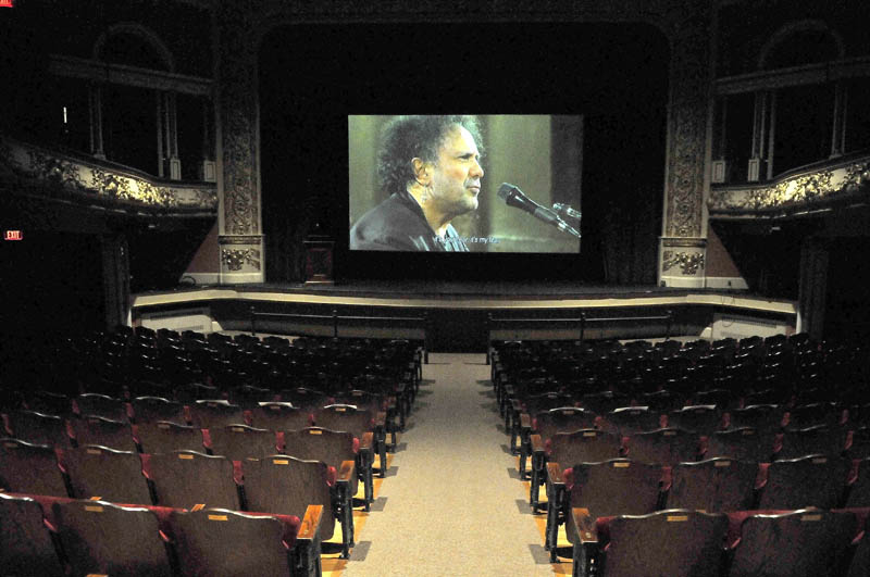 "Jonathan Demme's ""Enzo Avitabile Music Life"" lights up the big screen during a soundcheck on the opening night of the Maine International Film Festival at the Waterville Opera House today."