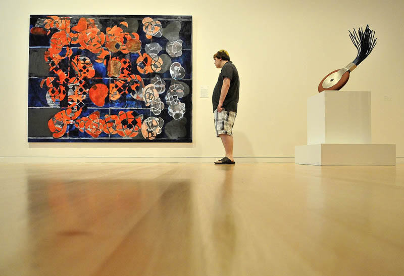 "Neil Lockwood, 15, a student at the Maine Academy of Natural Sciences, views Terry Winters' ""In Blue,"" a 2008 oil on linen, during a private tour of the Colby College Museum of Art, before the Community Day Celebration scheduled for Sunday."
