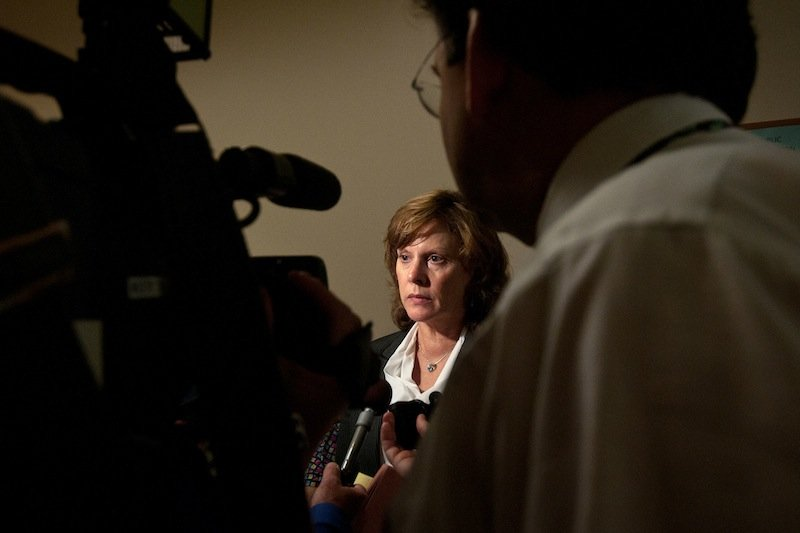 New Hampshire Senior Assistant Attorney General Susan Morrell talks with reporters after the extradition hearing for James Robarge, 43, at Windham District Court in Brattleboro, Vt., on July 8, 2013. Robarge is charged in New Hampshire with the second-degree murder of his wife, Kelly Robarge, but he is currently held on charges unrelated to his wife's death. Robarge maintained his right to extradition and the state of New Hampshire has 30 days to officially request his return to be tried for the murder. (AP Photo/Valley News, Libby March) valley news;upper valley;court;charlestown homicide;homicide;murder;brattleboro;robarge;james robarge