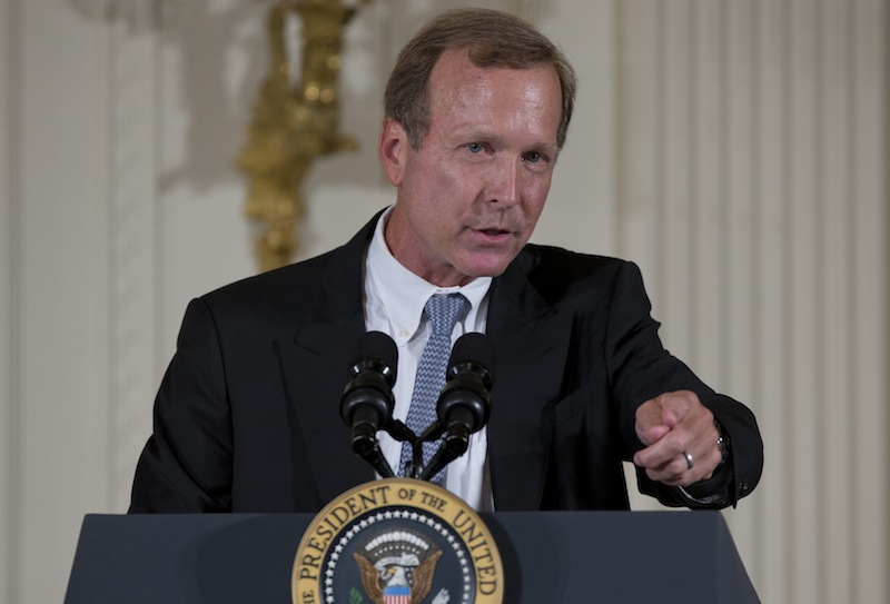 Neil Bush speaks during a ceremony to award the 5,000th Daily Point of Light Award at the White House on Monday, July 15, 2013. Bush was aboard his father's boat in Maine on Saturday when he rescued stranded boaters between Kennebunkport and Wells Harbor. (AP Photo/Carolyn Kaster)