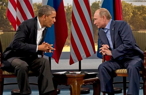 President Barack Obama meets with Russian President Vladimir Putin in Enniskillen, Northern Ireland, in this June 17, 2013, photo. Pulling the plug on U.S.-Russia talks in the fall would deepen the tensions between the two leaders.