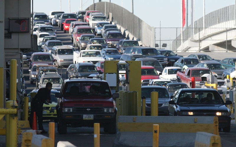 In this Monday, June 1, 2009 file photo, traffic lines up to enter the United States at the Bridge of the Americas port-of-entry in El Paso, Texas. A Senate subcommittee has approved a bill that expressly prohibits funding any study looking at the feasibility or cost of imposing a border crossing fee on people entering the U.S. by land from Canada or Mexico, U.S. Sen. Susan Collins said. (AP Photo/Victor Calzada, File)
