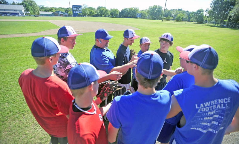 The Fairfield Post 14 Junior Legion baseball team practices at Keyes Field at Lawrence High School on Tuesday. Post 14 has a record of 18-2 and will play South Portland in the state junior Legion tournament today at 2 p.m. at Hadlock Field in Portland.
