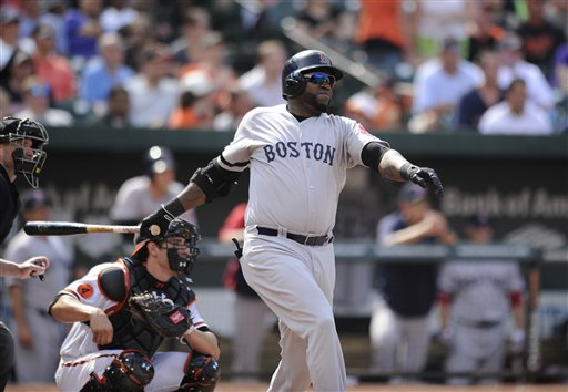 Boston Red Sox designated hitter David Ortiz follows through on his single during the eighth inning Sunday against the Baltimore Orioles at Camden Yards in Baltimore. The Red Sox won 5-0.