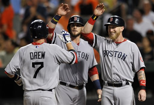 Boston Red Sox Stephen Drew, left, is congratulted by teammates Jarrod Saltalamacchia, center, and Mike Carp after hitting a three-run home run against the Baltimore Orioles in the fourth inning of a baseball game on Saturday in Baltimore.