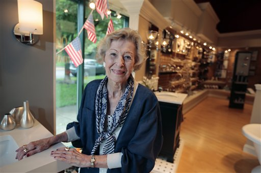 June Springer, who works as a receptionist at Caffi Contracting Services in Alexandria, Va., just turned 90.