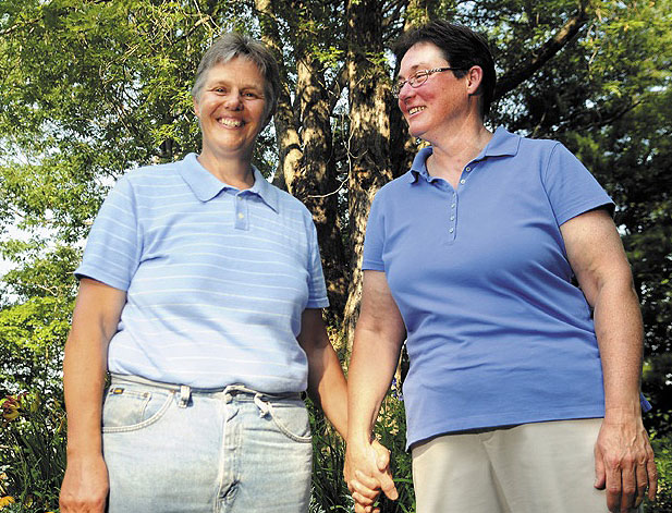 Terry Cookson, left, with her partner, Betty Armstrong, reports little prejudice against her lifestyle while living in Windsor, which voted against same-sex marriage in 2012. Still, she applauds EqualityMaine's new strategy, which focuses on outreach in rural areas.