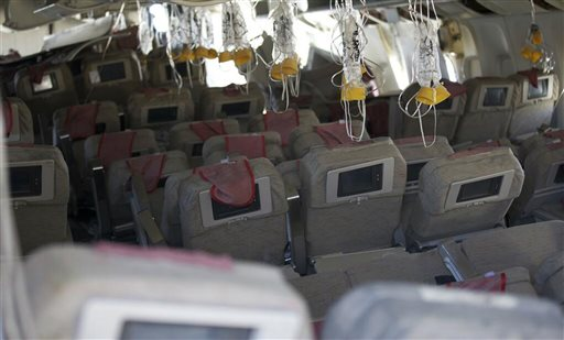 This image released by the National Transportation Safety Board shows the interior of the Boeing 777 Asiana Airlines Flight 214 aircraft. The Asiana flight crashed upon landing Saturday at San Francisco International Airport, and two of the 307 passengers aboard were killed.