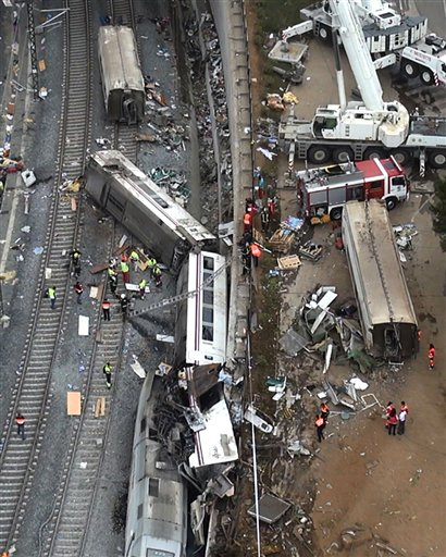 This aerial image taken from video shows the site of a train accident in Santiago de Compostela, Spain, on Thursday. The train jumped the tracks on a curvy stretch just before arriving in the northwestern city, a judicial official said.