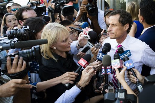 "New York City mayoral candidate Anthony Weiner addresses the media after a campaign stop at the Nan Shan Senior Center on Monday in the Queens borough of New York. ""I'm going to keep talking about the things important to this city,"" he said."