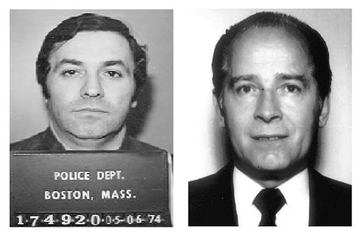 """This pair of file booking photos shows Stephen """"The Rifleman"""" Flemmi, left, in 1974 from the Boston Police Department, and James """"Whitey"""" Bulger, right, in 1984 from the FBI."""