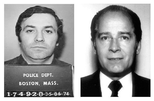"This pair of file booking photos shows Stephen ""The Rifleman"" Flemmi, left, in 1974 from the Boston Police Department, and James ""Whitey"" Bulger, right, in 1984 from the FBI."