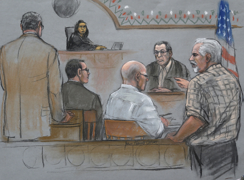 "This courtroom sketch depicts Steve Davis, right, brother of homicide victim Debra Davis, who was allegedly killed by James ""Whitey"" Bulger, center, as Davis explodes in anger after Bulger's former partner Stephen ""The Rifleman"" Flemmi, behind right, misidentified him as a drug user and informant at U.S. District Court, in Boston on Monday. U.S. federal judge Denise Casper, behind top left, prosecutor Assistant U.S. Attorney Fred Wyshak, left, and Bulger defense attorney Hank Brennan, center left, are depicted in the courtroom."