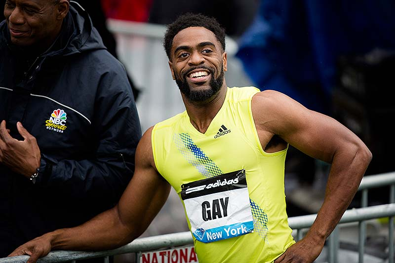 Tyson Gay reacts was informed he has tested positive for a banned substance and says he will pull out of the world championships next month in Moscow.
