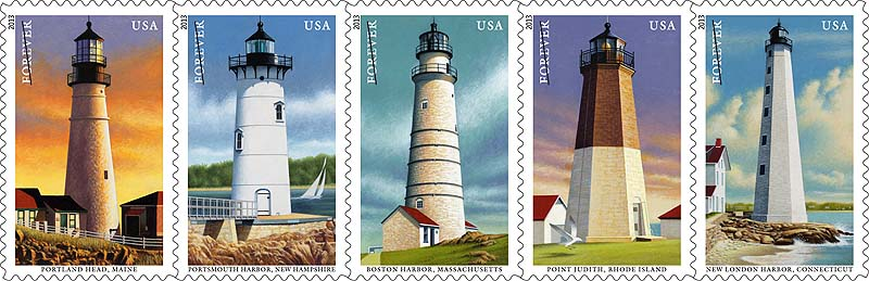 A series of new postal stamps features images of the New England coastal lighthouses, from left, Portland Head, Portsmouth Harbor, Boston Harbor, Point Judith and New London Harbor.