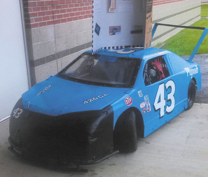SWEET RIDE: Cameron Folson, 14 of Augusta, built this Richard Petty Superbird replica for a school project. He will race the car at Ducktona tonight at Thundering Valley Raceway in St. Albans.