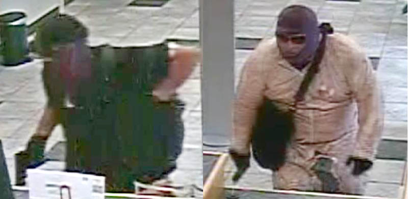 Police are looking for two men, seen in security camera images, who robbed a Bangor Savings Bank branch office in Winslow on Friday.