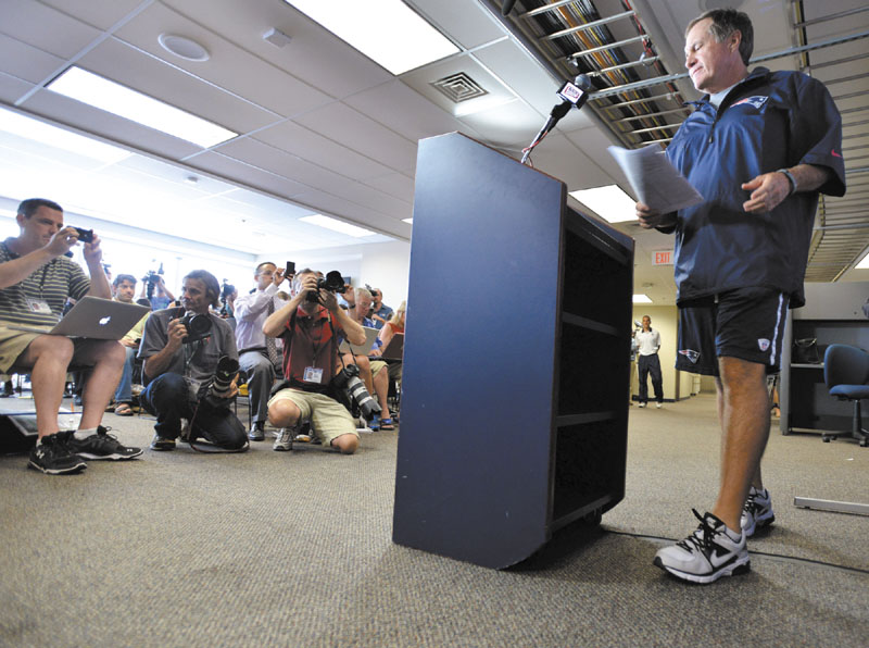 OPENING UP: New England Patriots NFL football head coach Bill Belichick addressed the media about the Aaron Hernadez situation on Wednesday in Foxborough, Mass. Belichick said it was a sad day, expressed sympath for the family of Odin Lloyd and said the organization will work hard to do better in the player evaluation process.