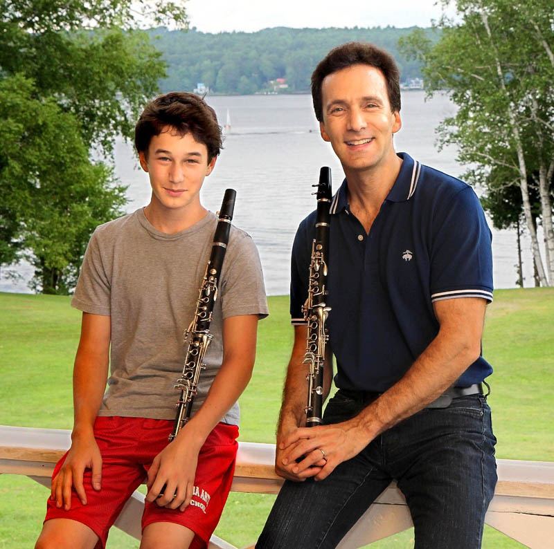 New England Music Camp alumni guest artist Jon Manasse of New York City, right, will perform with his son, Alec, 15, at 8 p.m. Wednesday. The performance is at the camp's Alumni Hall in Sidney. Manasse will also perform in Sunday's concert with the New England Music Camp Symphony Orchestra, at 3 p.m. in the Bowl in the Pines.