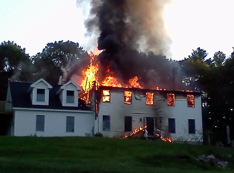 A fire of unknown origin destroyed the home at 53 Carding Machine Road in Bowdoinham early Sunday morning.