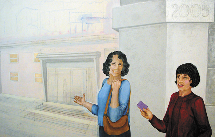 This photo taken on July 19 shows a section of a mural commemorating 2005, when women were first allowed to join Le Club Calumet in Augusta.