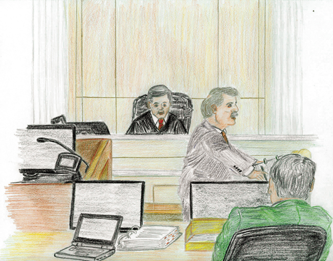 Cheif Judge John A. Woodcock Jr. watches Assistant U.S. Attorney Donald Clark, center, tell jurors on Monday why they should find Carole Swan, a former Chelsea selectwoman, guilty of defrauding the federal government. At right is Rodney Giguere, a special agent for the Internal Revenue Service, during the first day of Swan's trial in U.S. District Court in Bangor.
