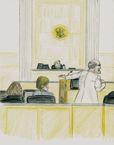 Defense attorney Leonard Sharon, right, argues today that the federal government did not prove its fraud case against former Chelsea selectwoman Carole Swan, far left, during his closing argument in Swan's fraud trial in U.S. District Court in Bangor. Defense attorney Cayleigh Keevan, second from left, and Chief Judge John A. Woodcock Jr., background, are also pictured.