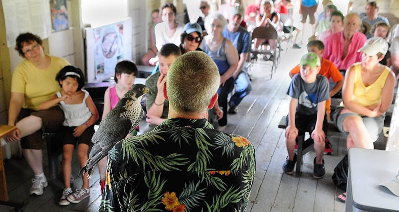 Falconer Larry Barnes talks about a Peale's peregrine falcon that he hunts ducks with in the winter, during a talk on Saturday in the boat house at theSteve Powell Wildlife Management Area, on Swan Island between Richmond and Dresden.