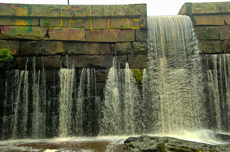 The dam in Vaughan Woods in Hallowell was spray painted in the past week.