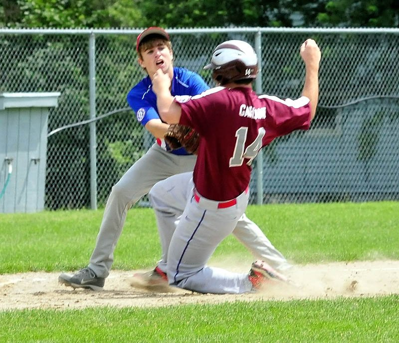 MAKE THE TAG: Augusta's Dameron Rodrigue tags out Central Maine runner Connor Garland at third base during a 14-year-old Babe Ruth All-Star state tournament game Sunday in Fairfield. Central Maine won 5-2 to win the state championship.