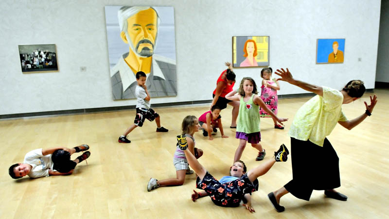 """Dance instructor Jeni Frazee, right, leads an interpretive dance workshop for area kids taking part in the three-week summer camp titled """"Lively Spaces,"""" at the Colby College Museum of Art in Waterville."""