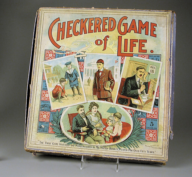 The box cover from about 1910 of the board game invented more than 50 years earlier by Milton Bradley in 1866. Bradley, who was born in central Maine, devised the game to illustrate the challenges of life. The game, now called The Game of Life, is still sold in stores by Hasbro Inc., which bought the Milton Bradley company in 1984.