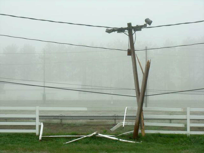 A utility pole and fence were damaged at the Skowhegan State Fairgrounds early Saturday morning.