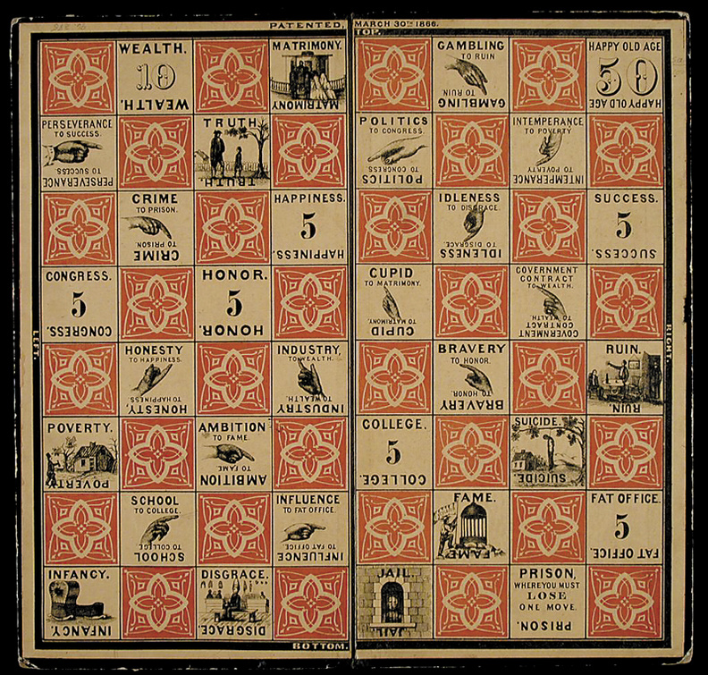 The board from Checkered Game of Life has spaces enough to gain 90 points. To win the game, however, a player needed 100 points. Milton Bradley, who invented the game, knew that in the game of life, you sometimes have to come back from failure to collect all the points you need. A presentation on the life of Milton Bradley is set for 7 p.m. Friday at Victor Grange in Fairfield Center.