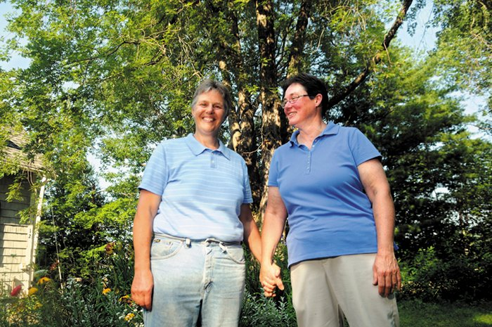 Terry Cookson, left, with her partner, Betty Armstrong, on Wednesday. Cookson reported little prejudice against her lifestyle while living in Windsor, which voted against same-sex marriage in 2012. Still, she applauded EqualityMaine's new strategy, which focuses on outreach in rural areas.