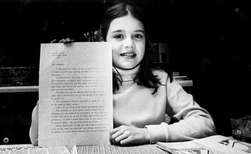Samantha Smith holds a letter she received from Soviet Premiere Yuri Andropov in 1983, after she wrote to him about world peace.